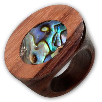 Wood Rings with Different Shell Inlays – picture 6