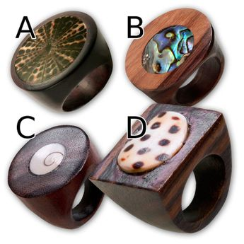 Wood Rings with Different Shell Inlays – picture 2