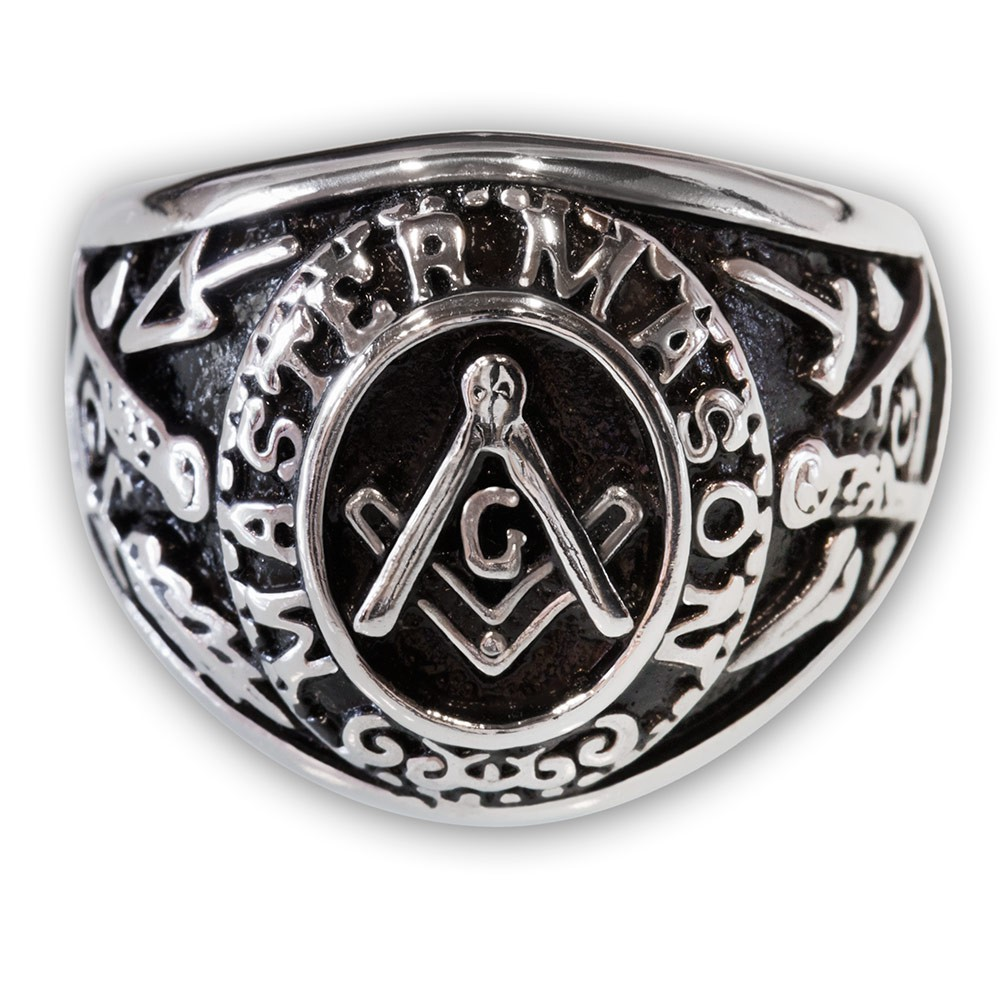 Masonic Ring From Stainless Steel Master Mason With The Square