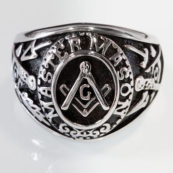 "Masonic Ring from Stainless Steel - MASTER MASON with the Square, Compass and ""G"" symbol, Masonry Trowel  – picture 2"