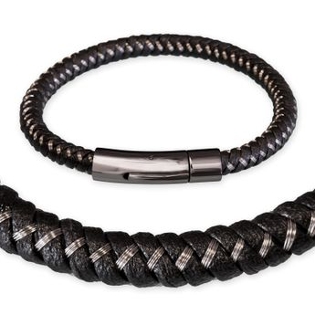 Design Bracelet / Necklace braided from Leather and Stainless Steel wire – picture 1
