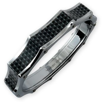 Stainless Steel Bracelet with Carbon Inlay – picture 1