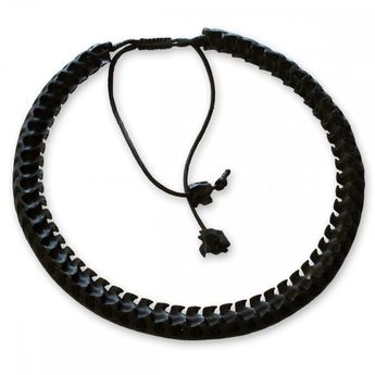 12mm Necklace from real snake bones with vertebral extensions - matte black