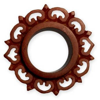 Ornate Petal Flower Flesh Tunnel Plug made from brown Sawo Wood – picture 3