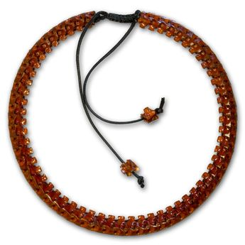 10mm Necklace from real snake bones with vertebral extensions - brown