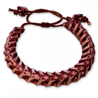 15mm Bracelet from real snake bone without vertebral extensions - red/white