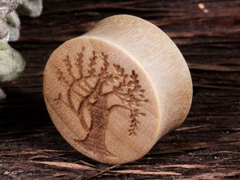 Laser Engraved Wood Plugs in various designs – picture 6