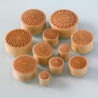 Laser Engraved Wood Plugs in various designs – picture 5