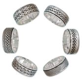 Different moveable 925. Silver Spinning Rings with various Celtic Patterns
