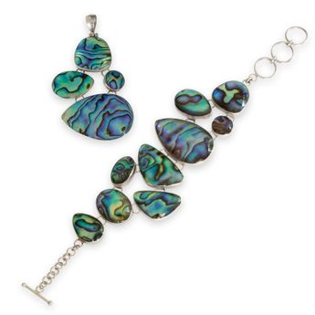 925 Sterling Silver jewelry set - Bracelet and pendant from mother-of-pearl - paua shell – picture 1