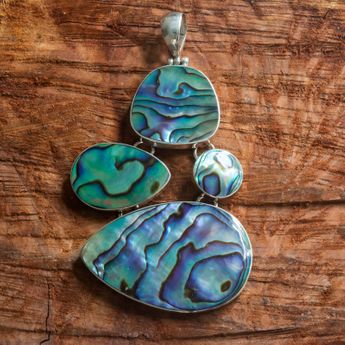 925 Sterling Silver jewelry set - Bracelet and pendant from mother-of-pearl - paua shell – picture 6