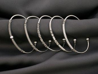 Brazaletes Estrechos de Plata de Ley - Medieval / Vikingo / Céltico / Diseño Antiguo – picture 3