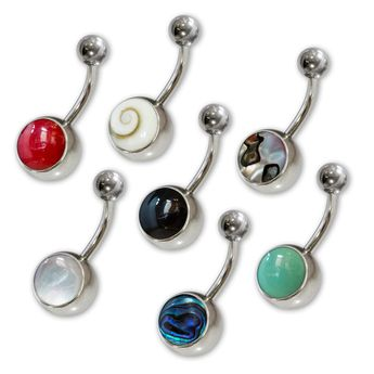 Stainless Steel Navel Piercing with various Shell / Stone / Mother of Pearl Inlays – picture 1