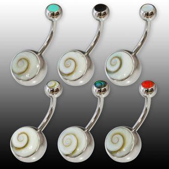 Bauchnabel Piercing aus Edelstahl mit Shiva Auge Muschel und farbigen Inlays – Bild 1