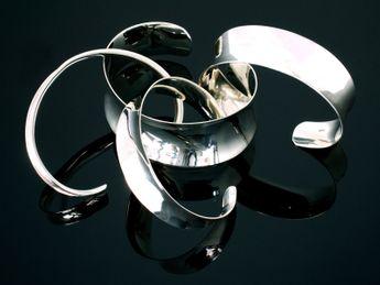 925 Silber Armspange - 4 Breiten verstellbar I offen – Bild 7