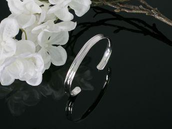 925 Silber Armspange - 4 Breiten verstellbar I offen – Bild 9