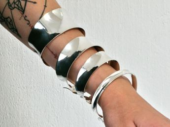 925 Silber Armspange - 4 Breiten verstellbar I offen – Bild 8
