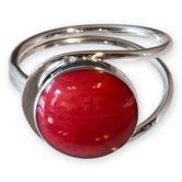 Stein Ringe echt Silber 925 in Koralle Optik