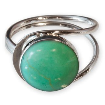 Round .925 Sterling Silver Rings with with Turquoise-Colored Inlay