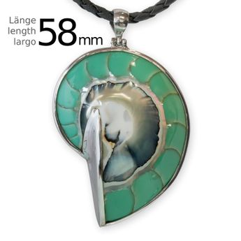 Green Nautilus Shell Pendant 925 Silver – picture 2