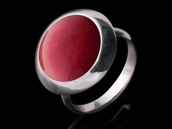 .925 Sterling Silver Rings with Red Inlay in Coral Optics – picture 4