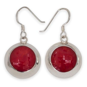 925 Sterling Silver Earrings with red Inlay in Coral Style – picture 1