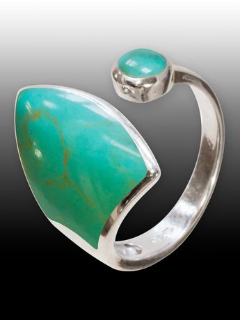 .925 Silver Ring with Green Inlay in Turquoise Optics – picture 2