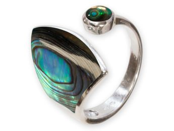 .925 Silver Ring with Paua / Abalone Shell Inlay – picture 1