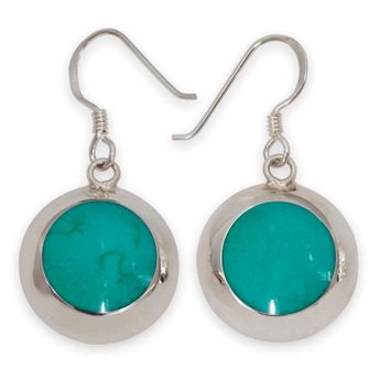 925 Sterling Silver Earrings with Green Inlay in Turquoise Style – picture 1