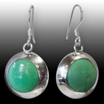 Jade Optics Lady's Earrings Stones 925 Sterling Silver – picture 2