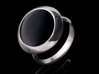 Damen Ring Stein Fingerring Silber 925 Onyx Optik – Bild 3