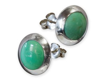 925. Silver Earrings / Ear Studs with Green Inlay in Turquoise Style – picture 1
