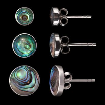 Shell Stone Stud Earrings Sterling Silver 925 – picture 11