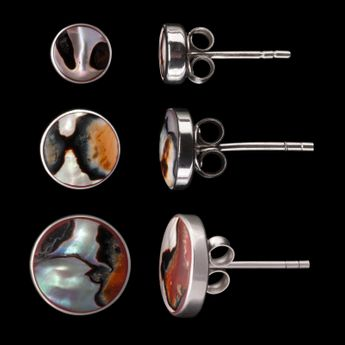 Shell Stone Stud Earrings Sterling Silver 925 – picture 14