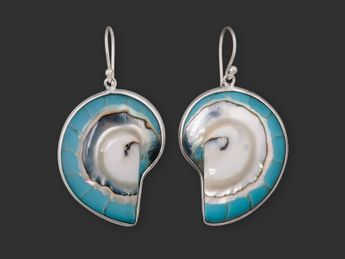 Sterling Silver Turquoise Nautilus Earrings