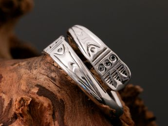 925 silver women's ring adjustable with embossed ornaments in Viking design – picture 1