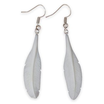 Handmade Horn or Bone Feather Earrings – picture 4