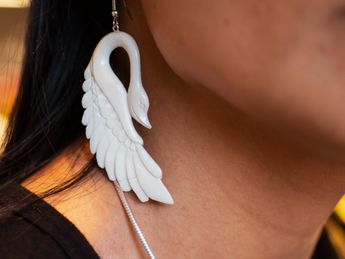 White Swan Earrings from Buffalo Bone