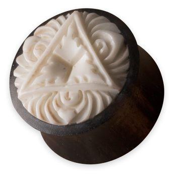 Holz Ohr-Plugs Lotus-Blume aus Knochen (12-22mm)