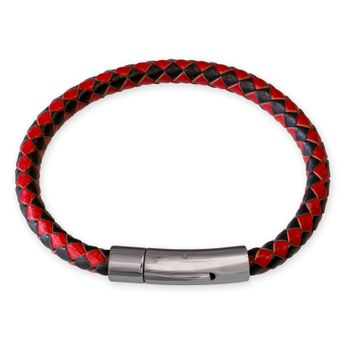 Black and red leather necklace bracelet for men and women (18-70 cm) – picture 2