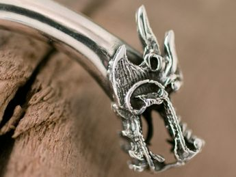 925 Sterling silver bangle with dragon heads – picture 2