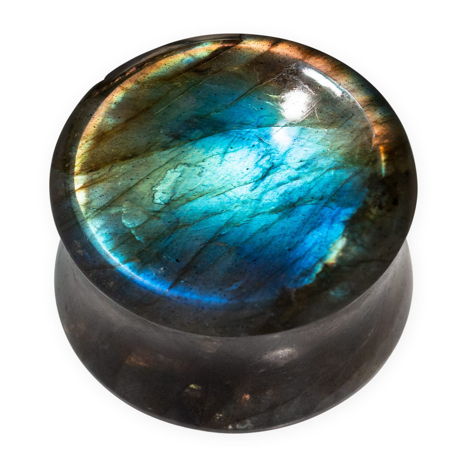 Flesh Plug made of Labradorite - Concave on one side