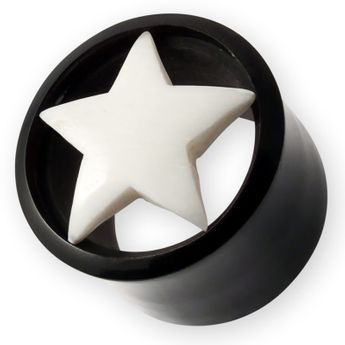 Horn Flesh tunnel Ear Plug with Bone Star 8-22 mm black and white