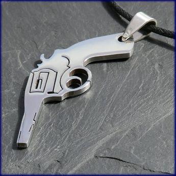 """Stainless Steel Pendant """"Revolver / Gun"""""""
