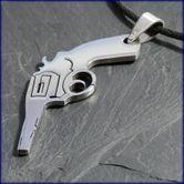 """Stainless Steel Pendant """"Revolver / Gun"""" 001"""