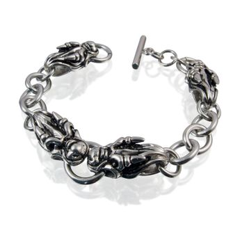 4 dragon skulls stainless steel bracelet – picture 1