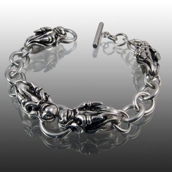 4 dragon skulls stainless steel bracelet – picture 2