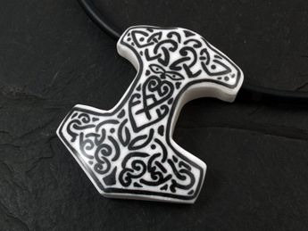 Bone Pendant with Horn Inlay - Thor's Hammer – picture 2