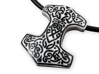 Bone Pendant with Horn Inlay - Thor's Hammer – picture 1