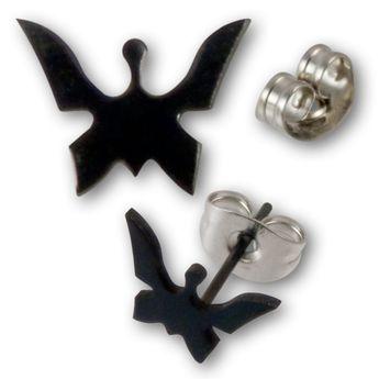 Pendientes de butón en Acero Quirúrgico - Mariposas Negras